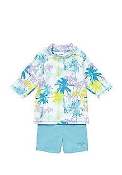 Babeskin Palm Tree Print UPF 50+ Rash Vest and Shorts Set - Blue