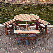 Outsunny 6 Seater Fir Wood Parasol Table Bench Set Outdoor Garden Patio Dining