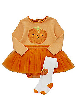 F&F Pumpkin Tutu Halloween Bodysuit with Tights - Orange