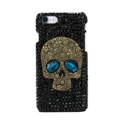 iPhone 7 Skull Shaped Black Diamonte Gems Protective Case - Black