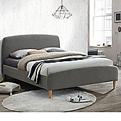 Happy Beds Quebec Fabric Low Foot End Bed with Memory Foam Mattress - Grey - 4ft6 Double