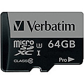Verbatim PRO Flash memory card - 64 GB microSDXC UHS-I - UHS Class 3 / Class10 - Black