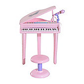 Homcom 37 Keys Kids Mini Electronic Keyboard Grand Piano w/ Stool Microphone Light Musical Instrument (Pink)