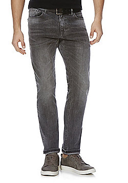 F&F Stretch Slim Leg Jeans with Belt - Grey