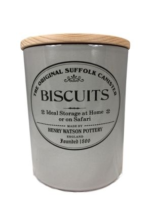 Henry Watson Original Suffolk Large Biscuits Biscuit Storage Jar Canister with Beech Lid in Dove Grey