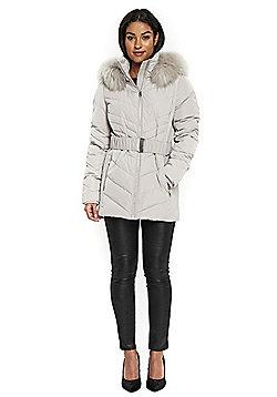 Wallis Belted Short Puffer Coat - Light grey