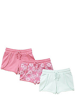 F&F 3 Pack of Pom Pom and Tie Dye Print Shorts - Multi