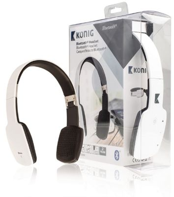 Konig On-Ear Bluetooth Headphones with Built-In Microphone in White