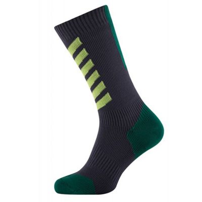 SealSkinz MTB Mid Socks with Hydrostop Grey/Green Size: L