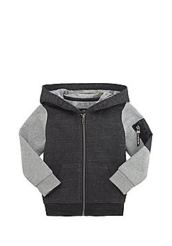 F&F Contrast Sleeve Zip-Through Hoodie - Grey