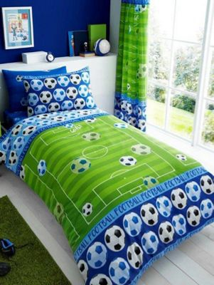 Goal Football Single Duvet Cover, Fitted Sheet and Pillowcase Set - Blue