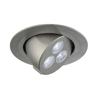 Triton 3 Gimble Downlight Round Silver Anodized 3X 1W LED Neutral White Adjustable