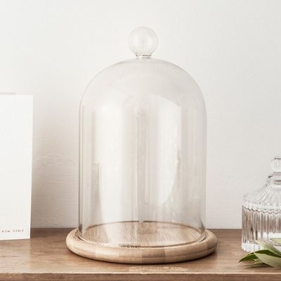 Large Glass Cloche Bell Jar Dome with Bamboo Tray