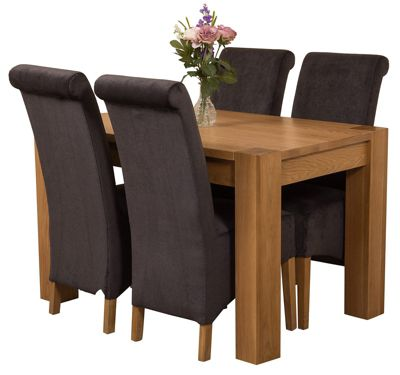 Kuba Chunky 125cm Kitchen Solid Oak Dining Set Table + 4 Black Fabric Chairs