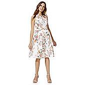 F&F Oriental Blossom Print Prom Dress - White & Pink