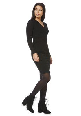 Mela London Shimmer Wrap Neck Dress 8 Black