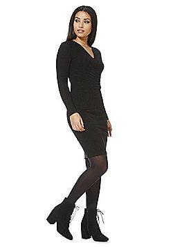 Mela London Shimmer Wrap Neck Dress - Black