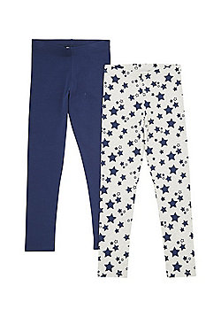 F&F 2 Pack of Star Print and Plain Leggings with As New Technology - Navy & Grey