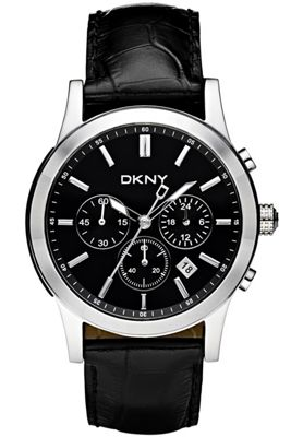 DKNY Gents Fashion Black Leather Strap Black Dial Chronograph Watch NY1472