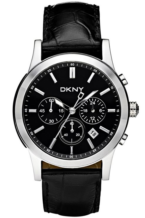 DKNY Gents Fashion Black Leather Strap Black Dial Chronograph Watch NY1472