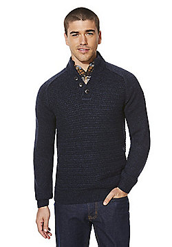 F&F Funnel Neck Textured Front Jumper - Navy