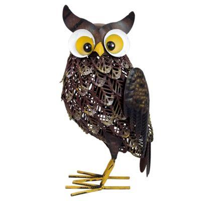 Brown Metal Owl Bird Garden Animal Ornament