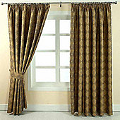 """Homescapes Gold Jacquard Curtain Abstract Aztec Design Fully Lined - 90"""" X 54"""" Drop"""