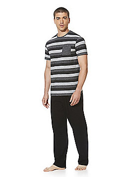 F&F Striped Soft Touch Pyjamas - Black