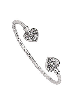 Rhodium Coated Sterling Silver Heart Torque Kids Bangle