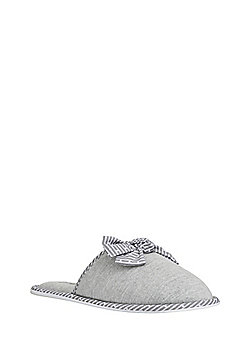 F&F Bow Detail Mule Slippers - Grey