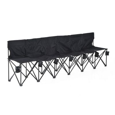 Outsunny Football 6 Seater Folding Bench Camping Portable Spectator Chair - Black