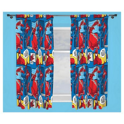 Spider-Man Pencil Pleat Curtains, Blue (54 x 66'')