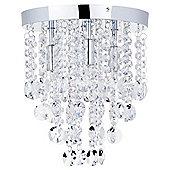 Litecraft Tula 4 Bulb Flush Crystal Droplet Ceiling Light, Chrome