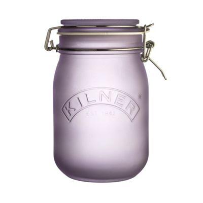 Kilner Frosted Clip Top Food Storage Jar, 1 Litre (Purple)