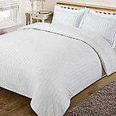 Dreamscene Satin Stripe Quilt Duvet Cover with Pillow Case White Double