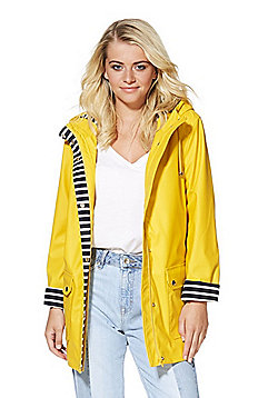 F&F Striped Trim Shower Resistant Hooded Mac - Mustard