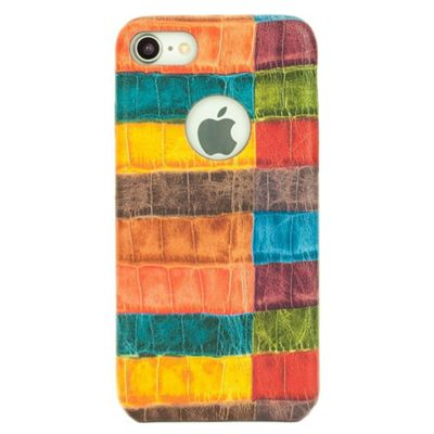 iPhone 8 Vintage Patchwork Faux Leather Protective Case - Multi