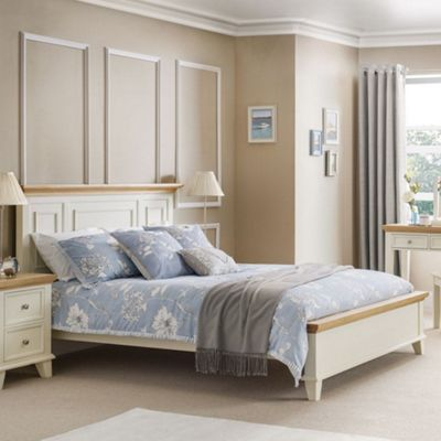 Happy Beds Portland Wood Low Foot End Bed with Open Coil Spring Mattress - White and Oak - 5ft King