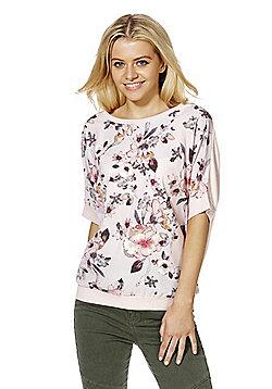 F&F Floral Print Woven Front Short Sleeve Jumper - Mauve