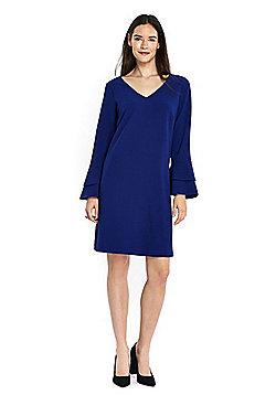 Wallis Double Bell Sleeve Dress - Cobalt blue