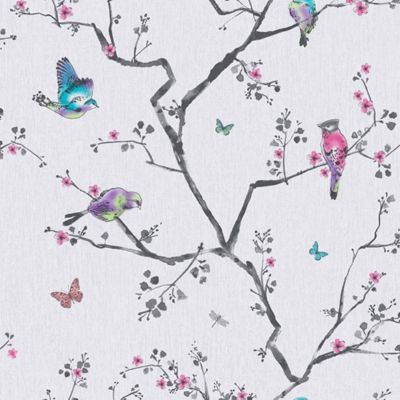 Fresco Mai Oriental Birds and Flowers Soft Lilac Wallpaper