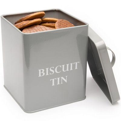 Andrew James Vintage Square Biscuit Barrel and Cookie Jar Storage Tin & Lid - Retro Grey