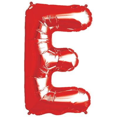 Red Letter E Balloon - 34 inch Foil