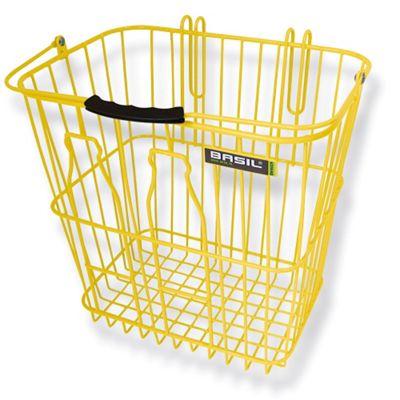 Basil Rear Milkbottle Bike Basket w/ Nylon Grip Handle Yellow