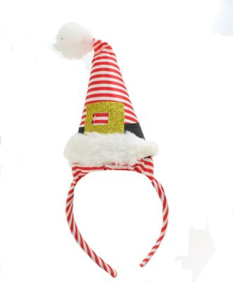 Festive Christmas Santa Red & White Striped Hat On Headband Party Accessory