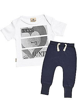 I Love My Aunty Baby T-Shirt & Navy Joggers Outfit Set - White