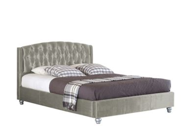 Comfy Living 3ft Single Velvet Fabric Bed Frame with Upholstered Headboard in Silver with Damask Sprung Mattress