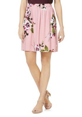 Vila Floral Print Skirt Pink/Multi 42 Waist