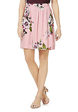Vila Floral Print Skirt - Pink/Multi