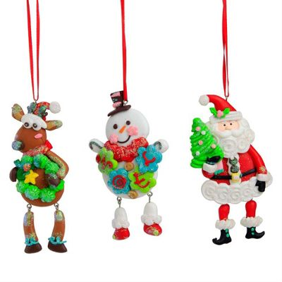 Snowman, Reindeer & Father Christmas Claydough Christmas Tree Decoration Set
